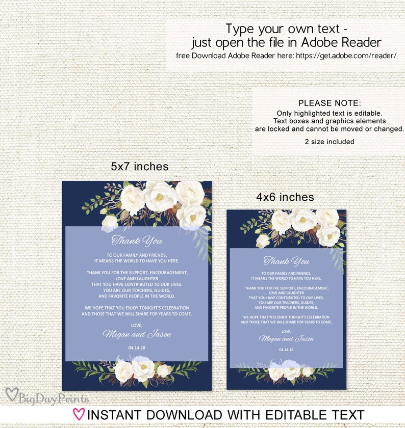 Instant Download Wedding Table Thank You #A051 Floral Wedding Thank You Place Card Thank You Place Setting Navy and White Editable PDF