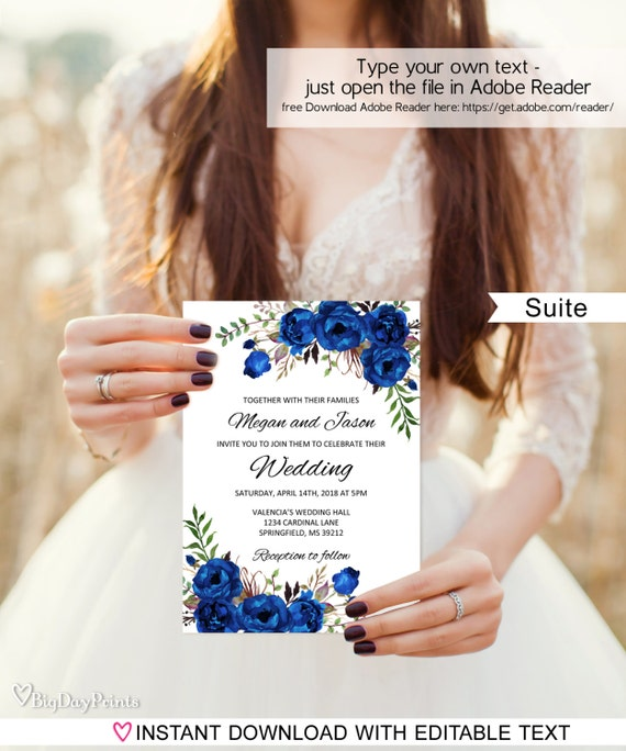 Royal Blue Wedding Invitation Blue Wedding Invitation Etsy