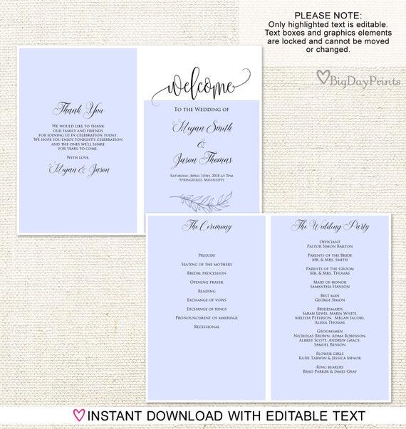 Folded Wedding Program Template, Ceremony Program Printable, Wedding  Program Printable, Calligraphy, #A045, Instant Download, Editable PDF