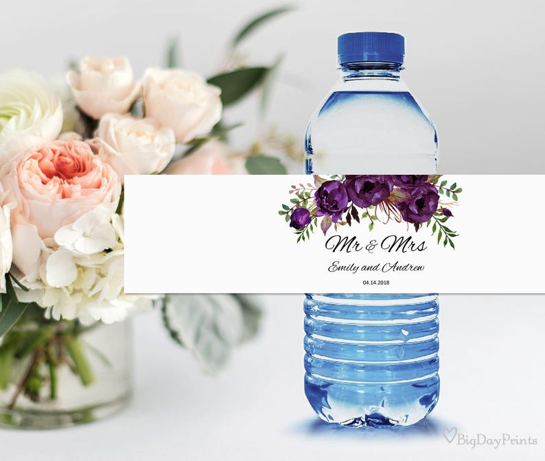 #A039 INSTANT DOWNLOAD Wedding Water Bottle Printable Editable PDF Eggplant Water Bottle Labels Wedding Water Labels