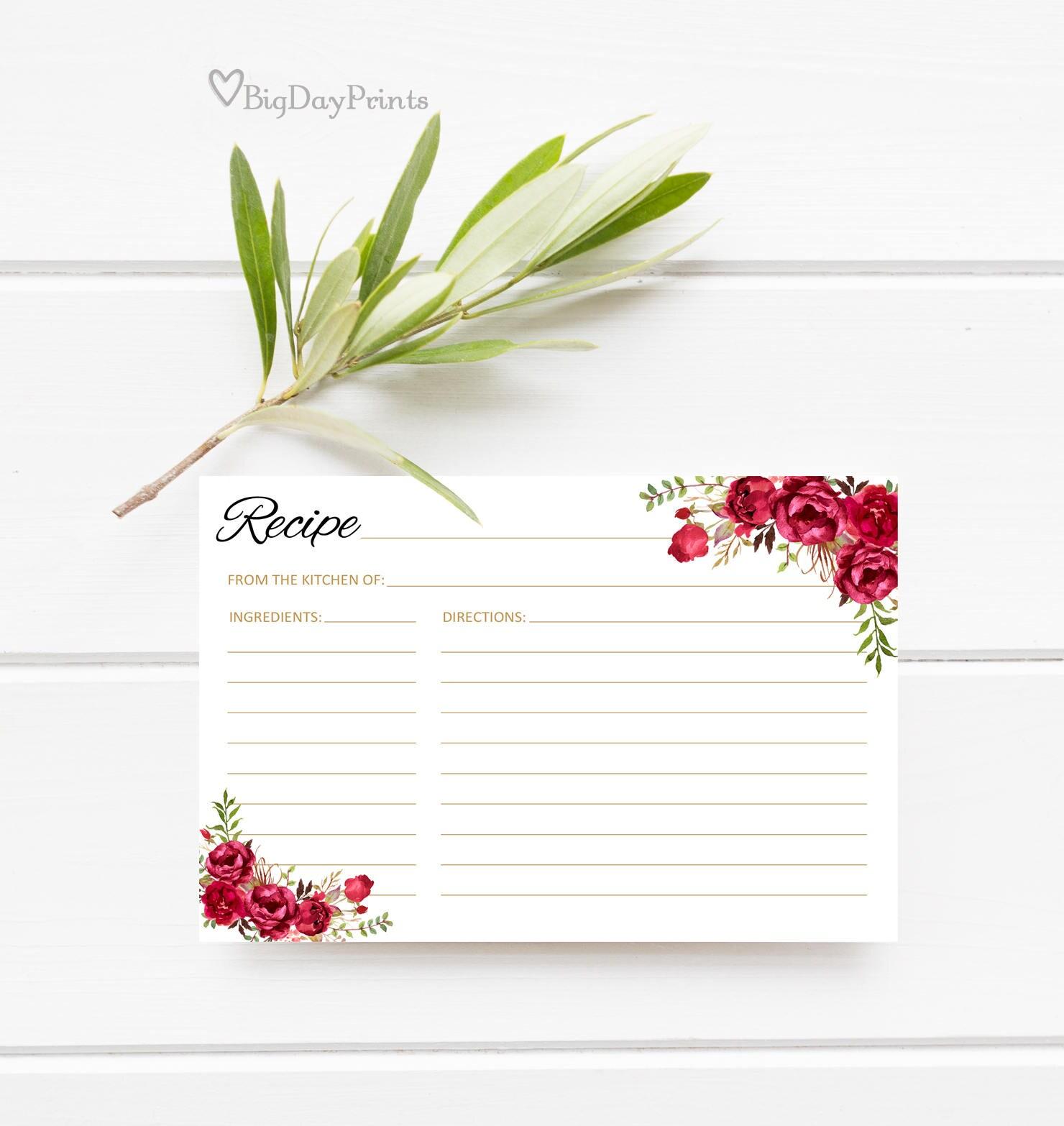 Bridal Shower Recipe Cards Recipe Card Printable