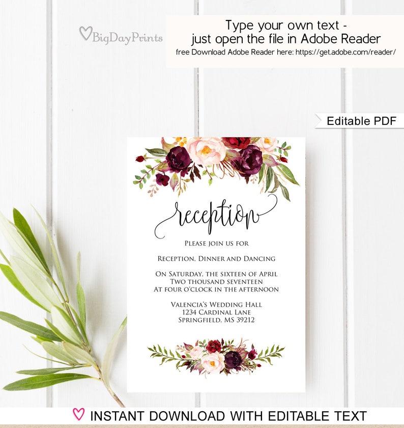 Wedding Reception Card Template Wedding Reception Invitation Etsy