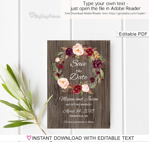rustic save the date template rustic floral wedding save the etsy