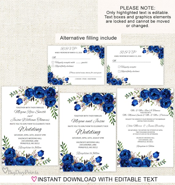 Blue Wedding Invitation Template Royal Blue Wedding Invitation Boho Chic Wedding Invitation Suite Floral Wedding Set A016d Editable Pdf