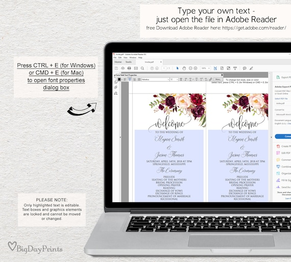 wedding program template ceremony program printable floral etsy