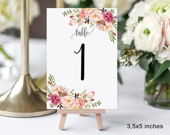 """3,5x5 Table Numbers, Wedding Table Numbers, Printable Wedding Table Numbers, Numbers 3,5""""x5"""", Instant Download, #A049"""