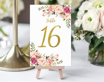 """Wedding Table Numbers, Floral Table Numbers, Printable Wedding Table Numbers, Blush Pionk and Gold, 4""""x6"""" 10x15 cm Instant Download, #A010"""