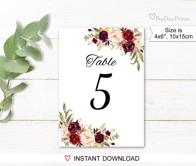 image about Printable Wedding Table Numbers called Wedding day Desk Figures, Floral Desk Quantities, Printable Wedding ceremony Desk Figures, 4\