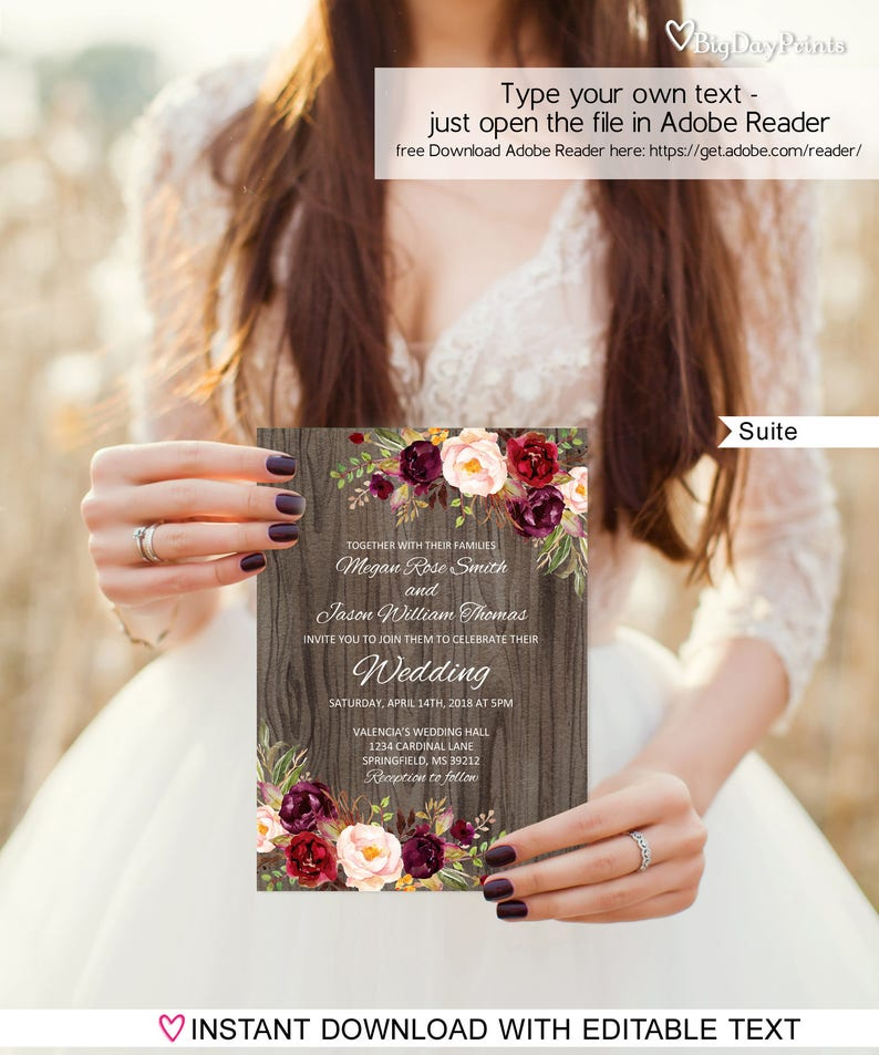 Rustic Wedding Invitation Template Suite Floral Set Burgundy Marsala Marron Editable PDF A090 C