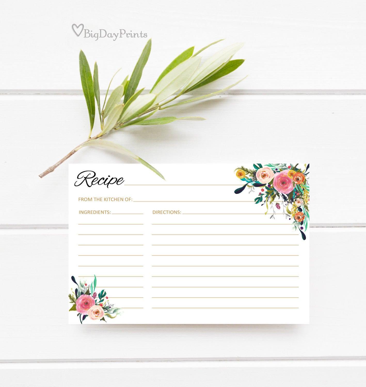 Bridal Shower Recipe Cards Recipe Card Printable A001