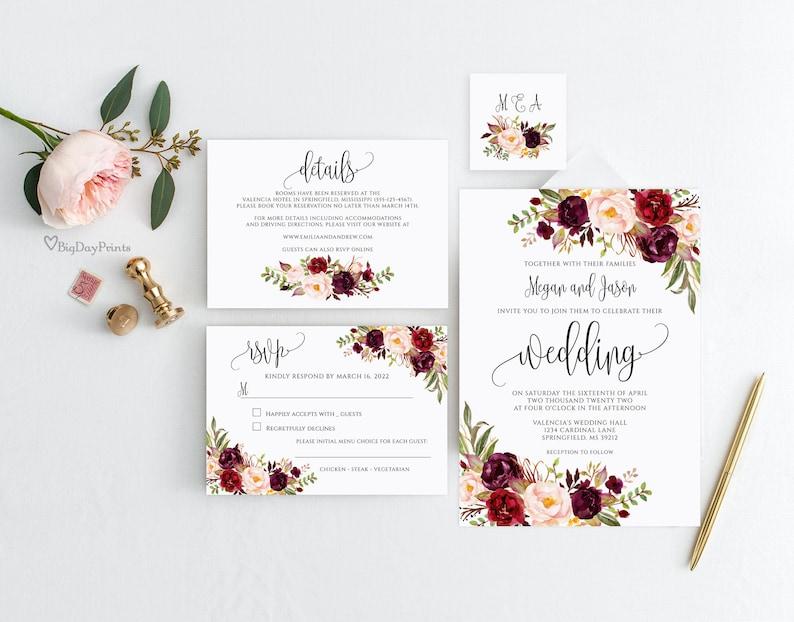 Wedding Invitation Template Burgundy Wedding Invitation image 0