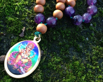 Ganesha Rainbow mala | hand knotted | JAPA Mala.  ¦ Yoga jewelry | Yoga jewelry