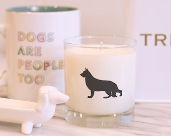 German Shepherd Gift Search And Rescue Dog K-9 Police Dog German Shepherd Dog Breed Soy Candle in Large Gold Tin Dog Service Dog
