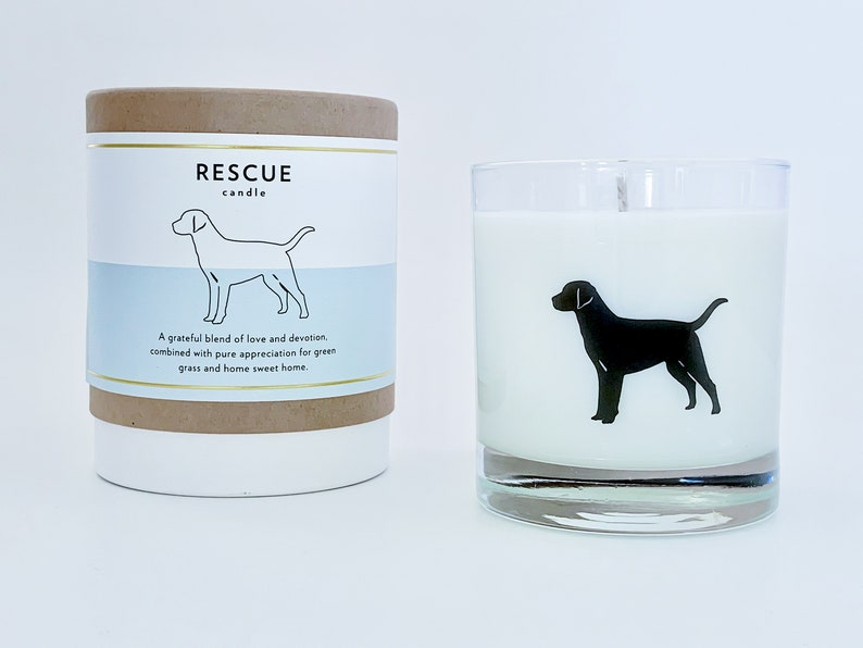 Rescue Dog Soy Candle with Signature Silhouette Glass. Come discover Zen Cozy Self-Care Gifts for Millennials & Holiday Humor! #giftguide #millennials #cozygifts
