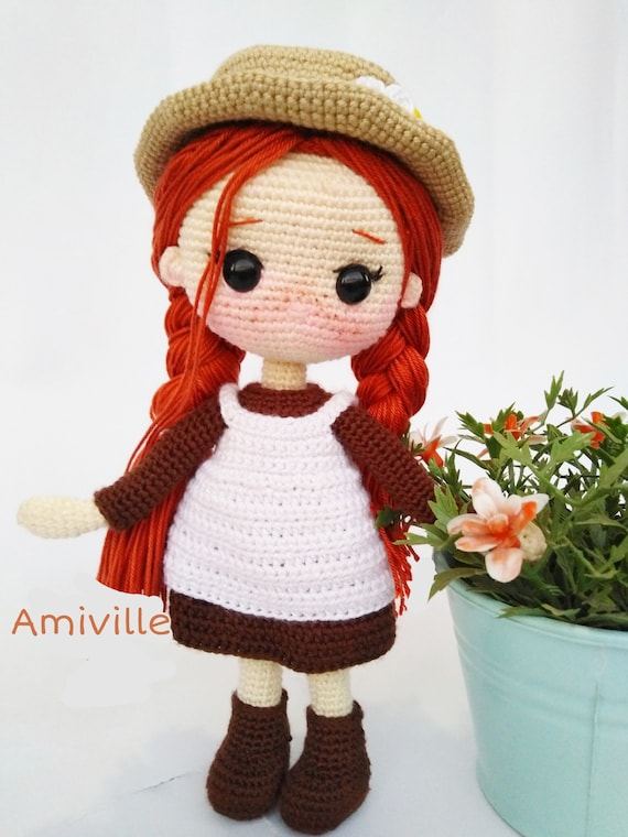 Anne of green gables amigurumi crochet doll pattern by amiville