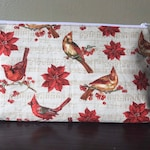 Large Project Bag- Cardinals and Poinsettias