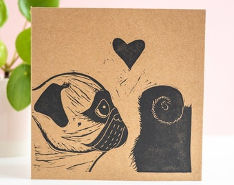 Pug Card Valentines Card  Valentines Day Gift Funny Valentines Card Lino Print Wedding Card Hand Printed Card Pug Gift Dog Gift Wedding Gift