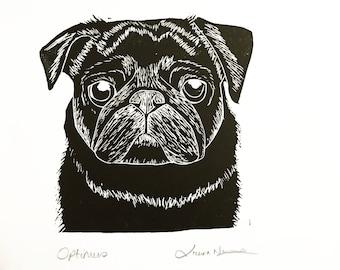 Pet Portrait Custom Lino Print Art Personalised Dog Gift Cat Gift