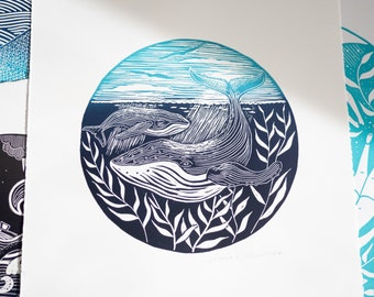 Whale Print Lino Print Nautical Print  Humpback Whale Nature Lino Cut Original Art Limited Edition Hand Printed Gift Nautical Decor Seascape