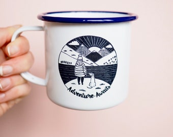 Enamel Mug, Dog Mug, Camping Mug, camping Gift, Dog Walker Gift, Dog Lover Gift, Travel Mug, Camping Mug, Dog Gift, Adventure Awaits
