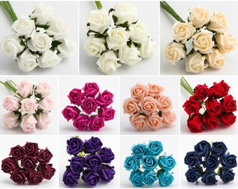 Bunch of 8 - 3cm Colourfast Foam Artificial Roses Wedding Flowers Bouquet  White Ivory Cream Pink Red Burgundy Purple Turquiose Navy Vintage