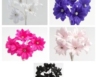 Bunch 6 Stems - Diamante Margherita Flower Spray Favour Box Craft Decoration