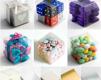DIY Wedding Party Favour Gift Boxes - PVC Clear Transparent Acetate Cubes (Box/Platform Only) 4cm 5cm 6cm 7cm 8cm 9cm 10cm 12cm