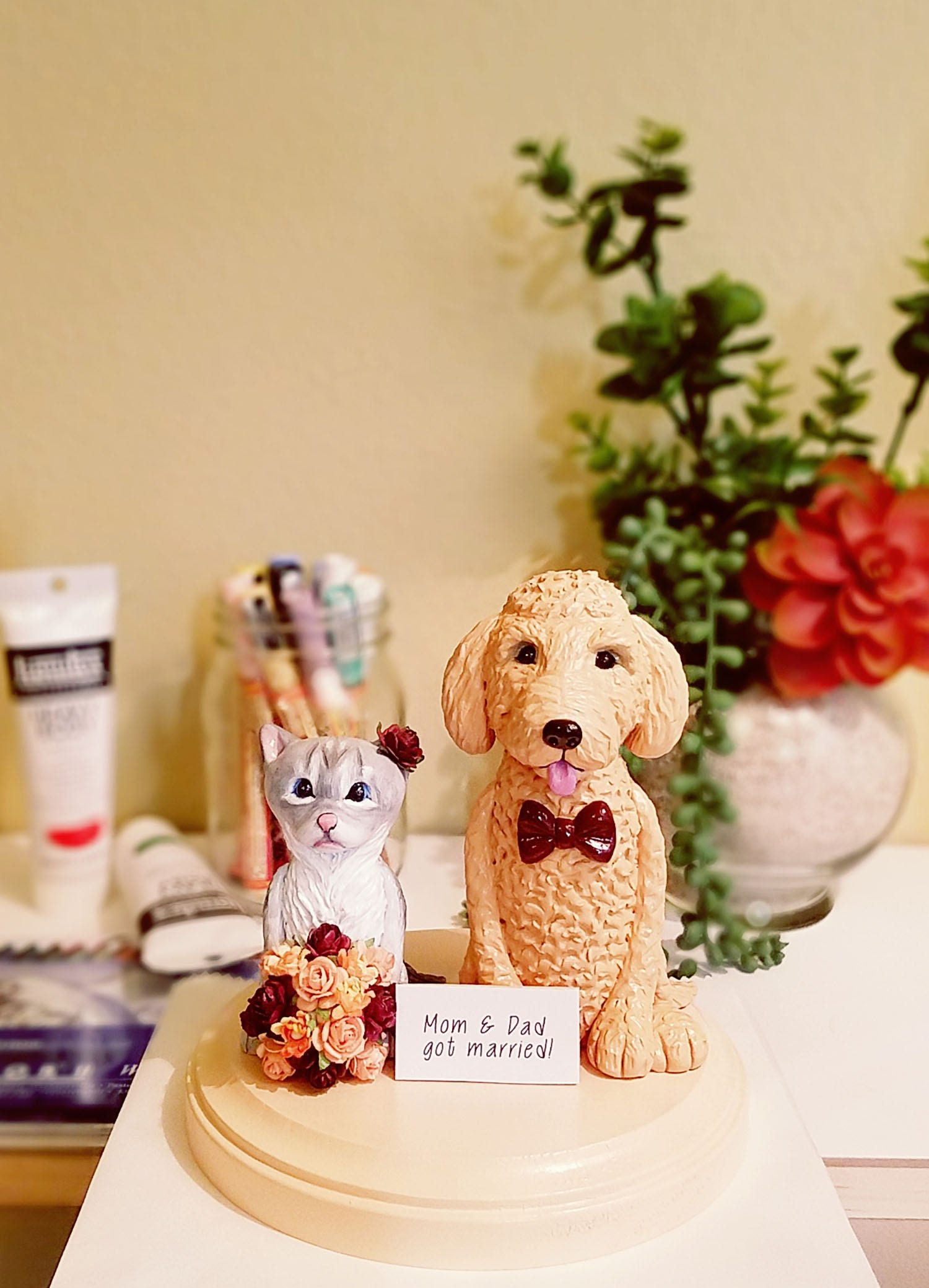 Clay Dog and Cat Cake Topper Goldendoodle Cake Topper Gray   Etsy