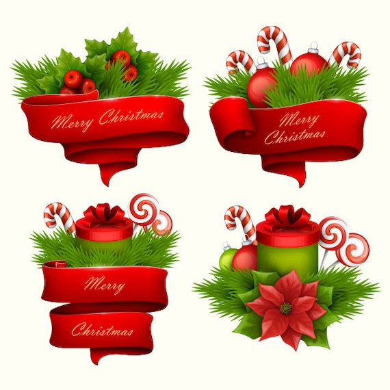 Christmas Graphics Clip Art.Christmas Clipart Christmas Banners Ribbons Twig Clip Art Vector Graphic