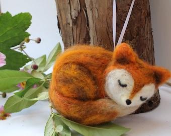 Cute Fox Ornament,  Felted Fox Ornament,  Sleepy Fox,  Wool Ornament,  Animal Ornament, Christmas Fox Ornament,  Cute / Sleepy Fox Ornament