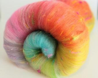 Birthday Cake Art Batts, Merino Batts, Merino Wool,  Spinning Wool,  Wool for Spinning,  Wool Batt,  Weaving Wool, Weaving, Spinning Batt