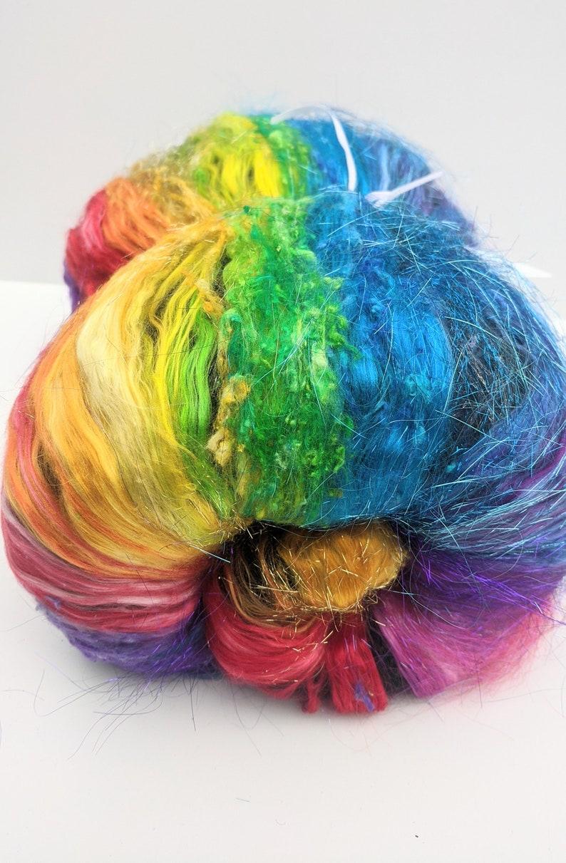 Multicolor Batt Art Batt Felting with Merino Silk Noil Spinning Fibers Hand dyed Fibers Colorful Wool 2.6 oz Merino Silk Batt