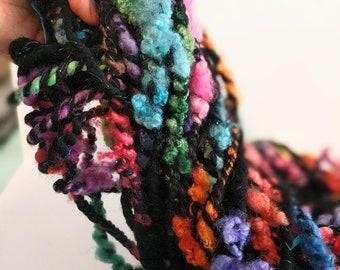 FELICIDAD , Handspun Art Yarn,  Shiny and Soft Art Yarn,  Rainbow Yarn,  Merino Yarn,  Border Leicester Locks,  Weaving and Fiber Arts