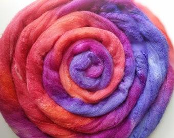 Polwarth Silk Blend 60/40,  Spinning Fiber,  Luxury Blend,  Combed Top,  Hand dyed Wool,  4 oz,  Felting Fibers,  Spinning Wool,  Silk Blend