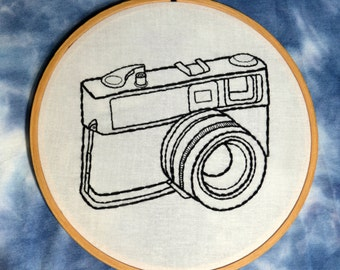 Camera hand embroidery hoop art. 6 inch hoop.