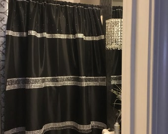 Handmade Customxlongshowercurtainblack Taffetaand Rhinestones Bling Home Decor Handplacedonebyone Oneofakind72x82