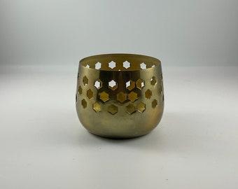 Vintage Brass Cut-Out Hexagon Votive / Tea Light Holder / Boho