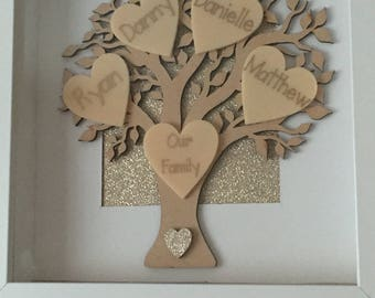 Personalised framed family tree