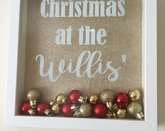 Christmas at the..... personalised bauble frame