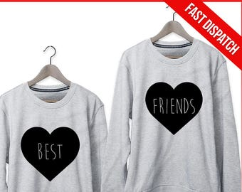 Best Friends Sweatshirts Matching Set - FAST DISPATCH! Gift For Best Friend Bff outfit bff sweaters best friends sweaters festival outfit