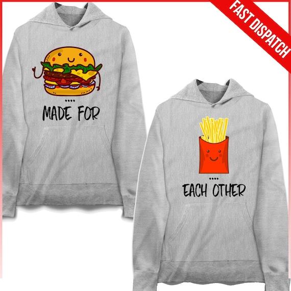 Best Friends Hoodies - Best Friends Burger And Fries Matching Hoodies best friends outfit couple hoodies matching burger fries KDwXey2j
