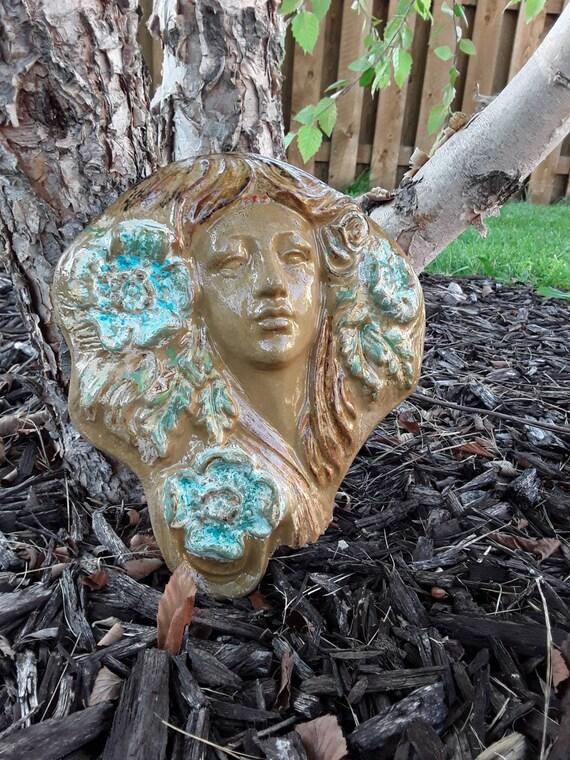 Fairy Garden Statue Face Cement, Garden Statue Fairy