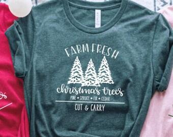 Farm Fresh Christmas Tree Tshirt | Rustic Christmas Happy Holidays Shirt | Cozy Christmas Gifts for Best Friend Coworkers | Farm Tee | CM