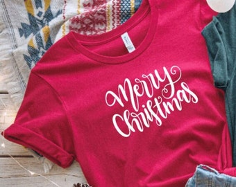 Merry Christmas Minimalist Holiday shirt | Happy Holidays Tee | Simple Christmas t-shirt | Winter Tees  | Best Friend Gifts | CM
