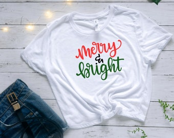 Merry & Bright Holiday Happy Cropped White Tshirt | Snowglobe Christmas tee | Simple Christmas VSCO Christmas Shirt | Best Friend Gifts | CM