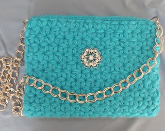 Hand Crocheted Turquoise Blue Shoulder Bag with Star Stitch Design