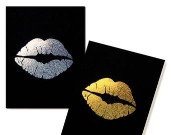 Glitter Lips Pocket Notebooks - Set of 2