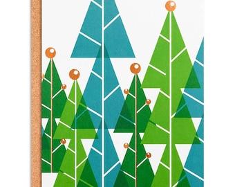 ChristmaHoliday Cards Set, Christmas Cards Set, Boxed Christmas Cards: Christmas Trees Gold Foiled Greeting Card or Invitation Set