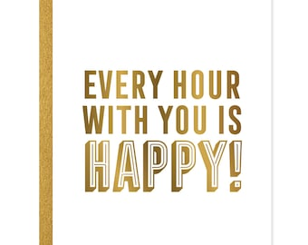 Happy Hour Greeting Card Gold Foil