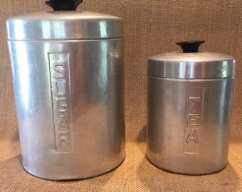 West Germany Aluminum Canisters, Sugar and Tea. Continental